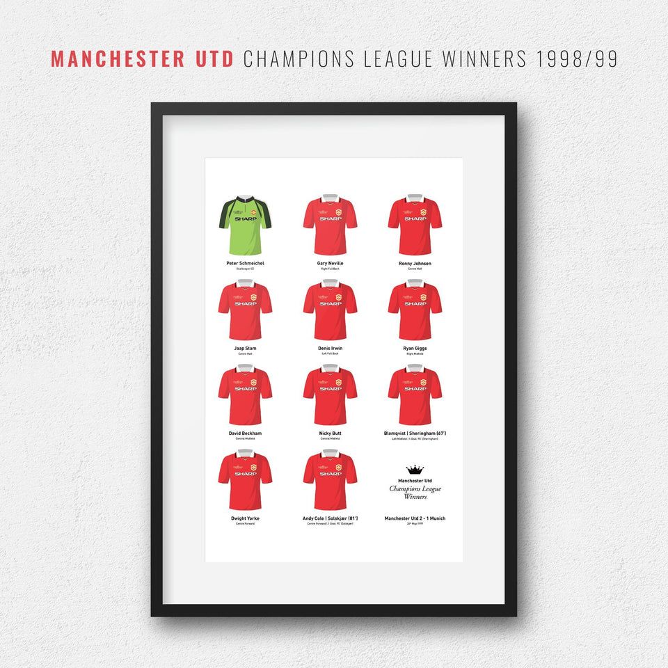 Manchester Utd 1999 Champions League Winners Football Team Print-Good Team On Paper