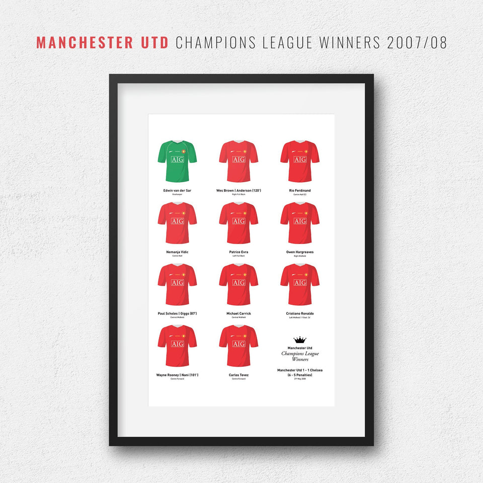 Manchester Utd 2008 Champions League Winners Football Team Print