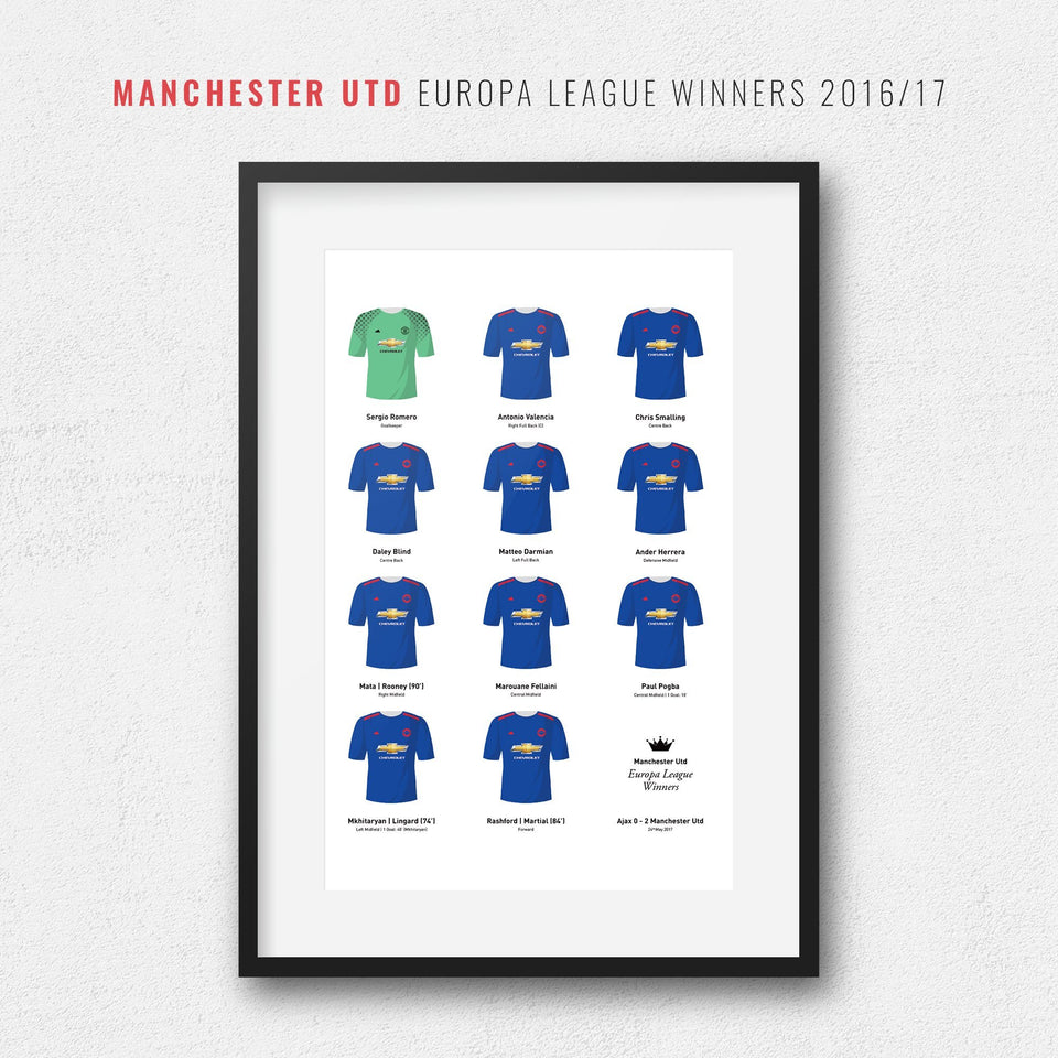Manchester Utd 2017 Europa League Winners Football Team Print