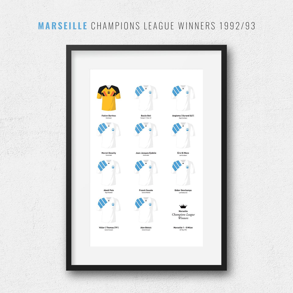 Marseille 1993 Champions League Winners Football Team Print-Good Team On Paper