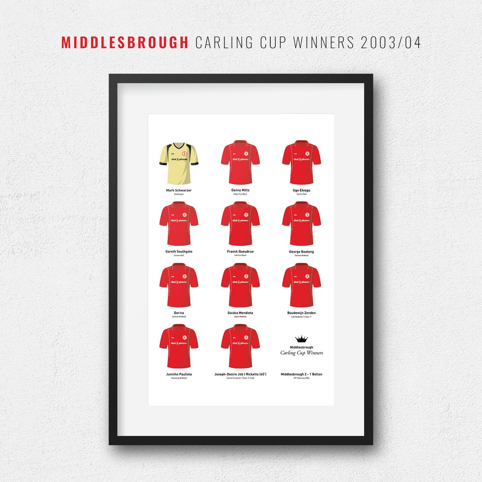 Middlesbrough 2004 Carling Cup Winners Football Team Print