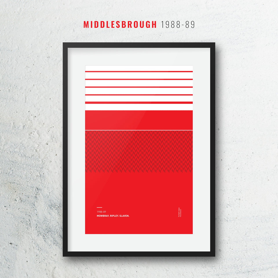 Middlesbrough 1988 Iconic Football Kit Pattern Print - Good Team On Paper