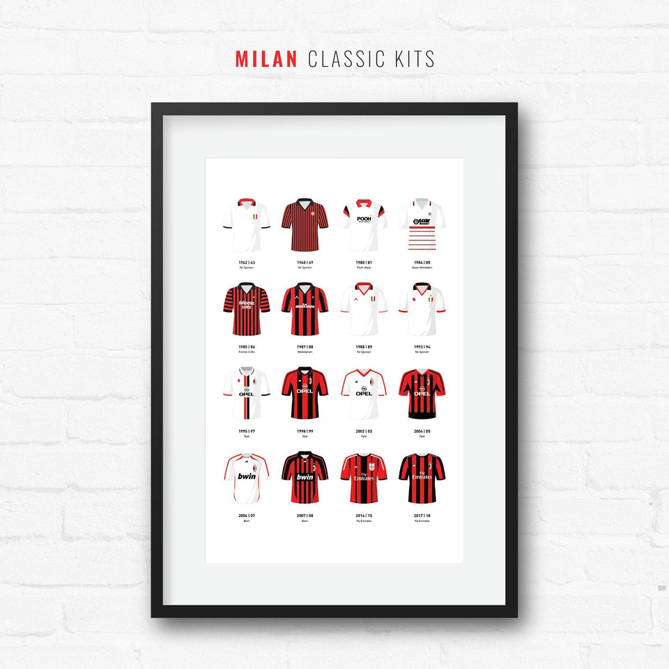 Milan Classic Kits Football Team Print