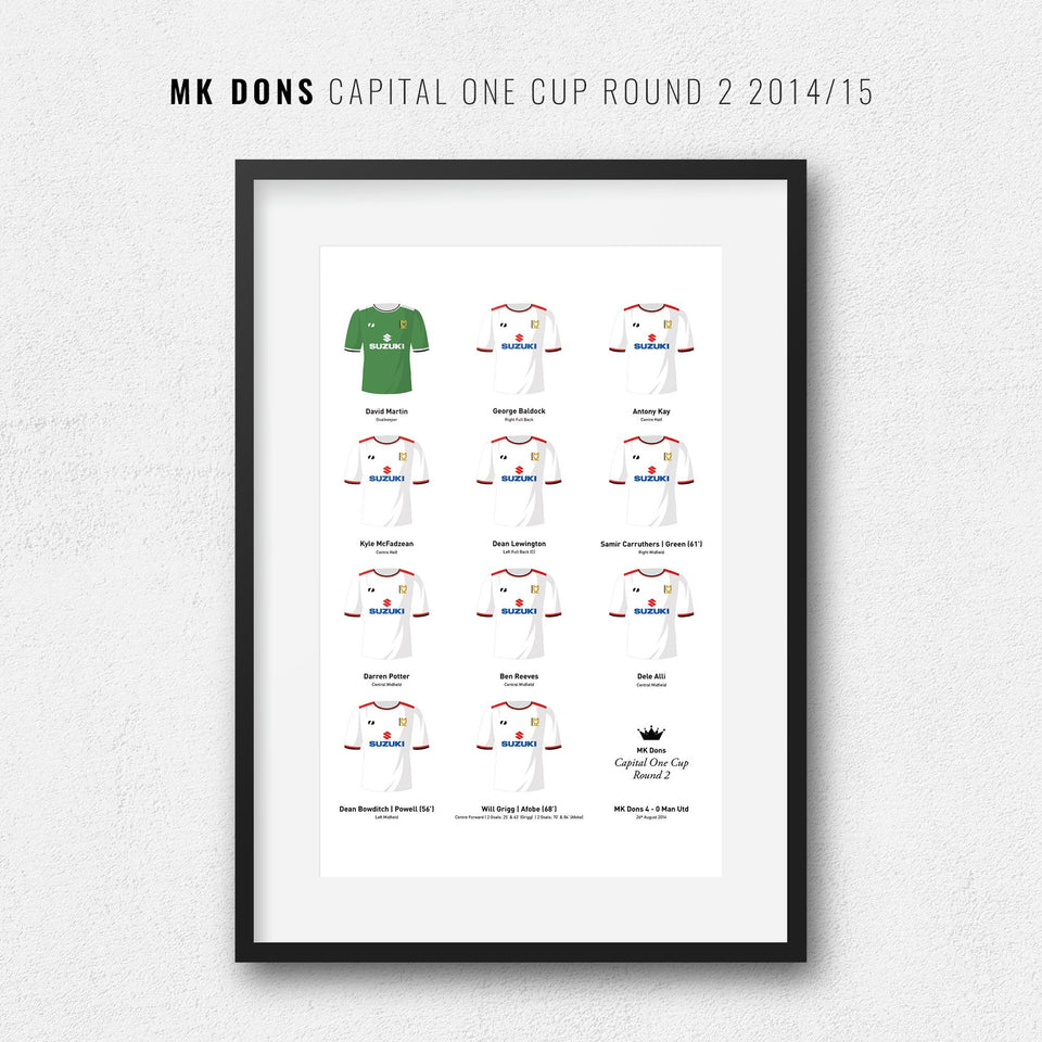 MK Dons 2014 Capital One Cup 2nd Round Football Team Print