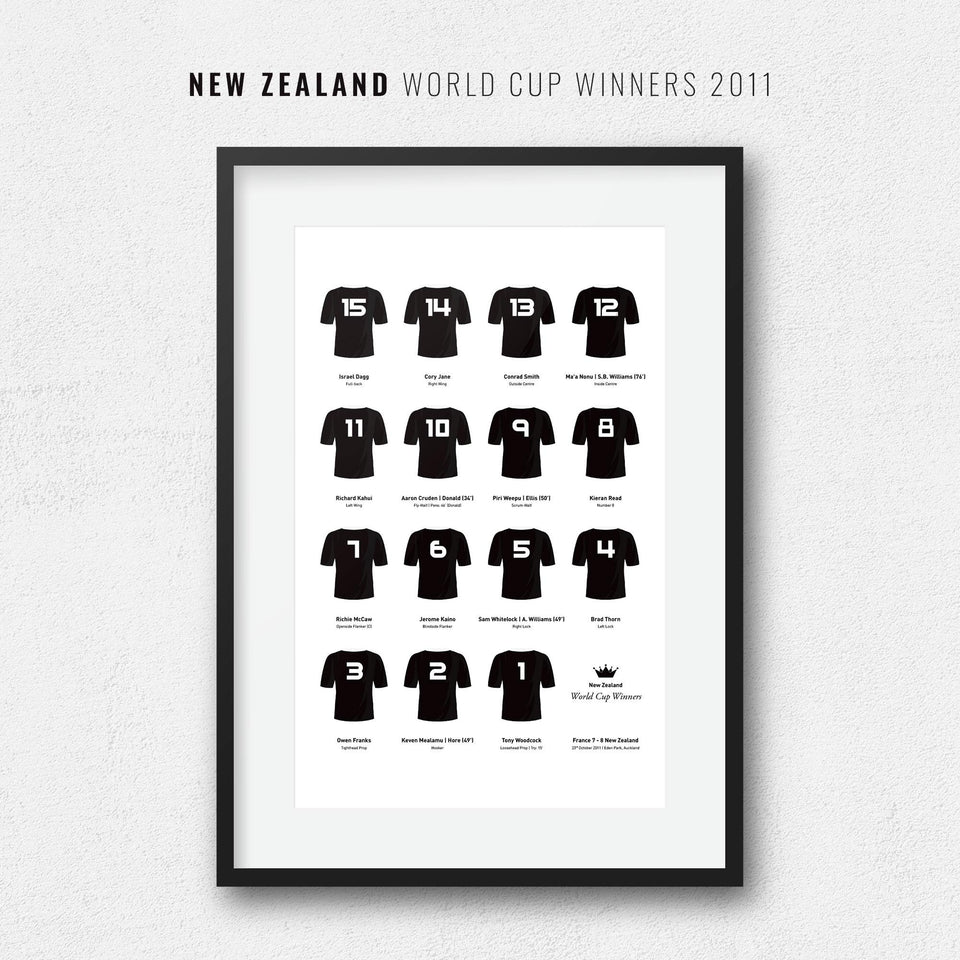 New Zealand Rugby Union 2011 World Cup Winners Team Print