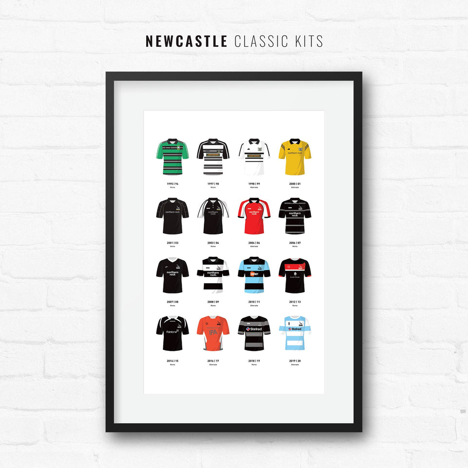 Newcastle Classic Kits Rugby Union Team Print - Good Team On Paper
