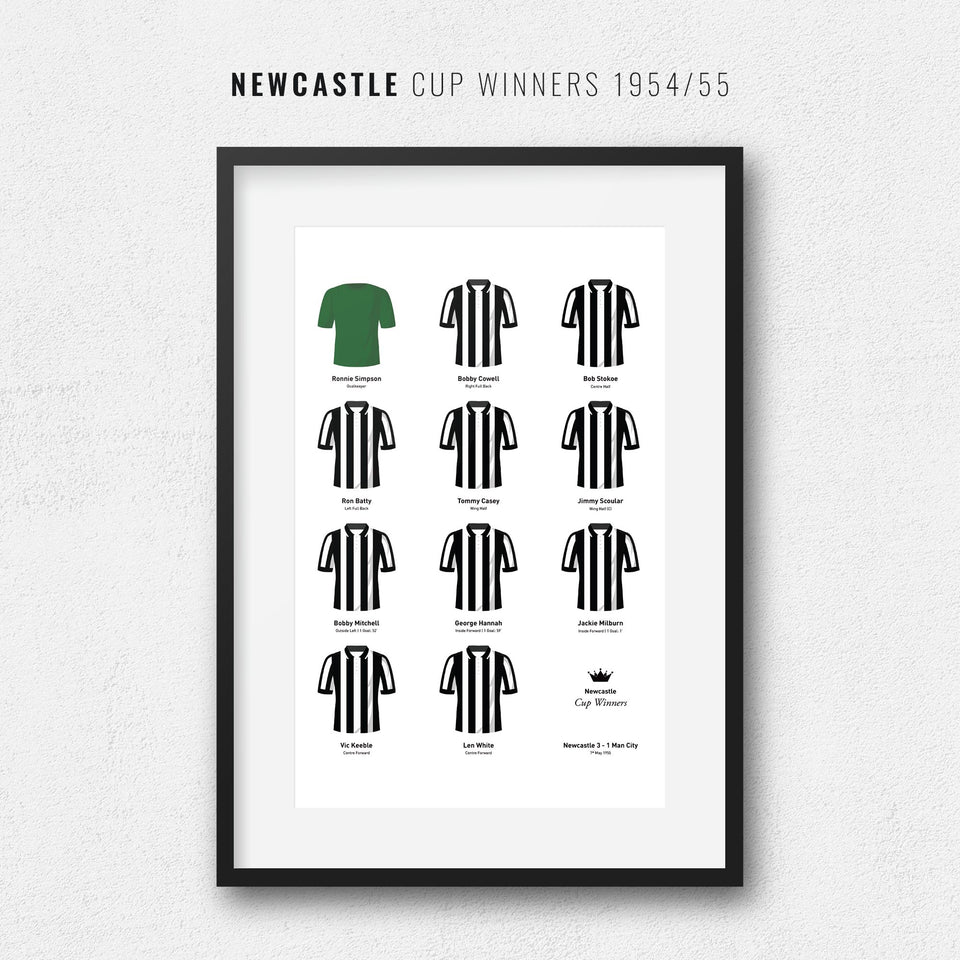 Newcastle 1955 Cup Winners Football Team Print - Good Team On Paper