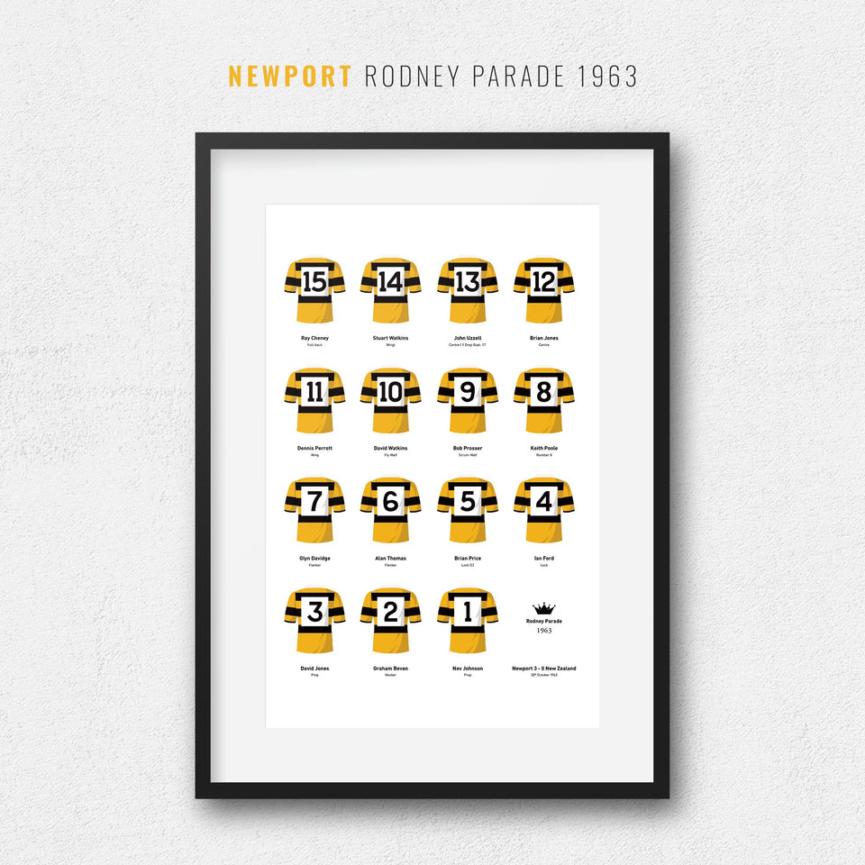 Newport versus New Zealand 1963 Rugby Union Team Print - Good Team On Paper