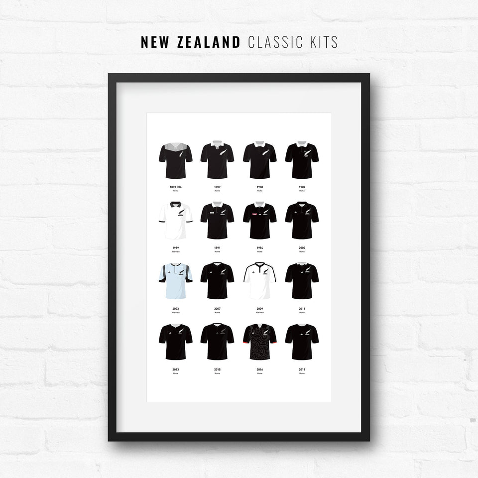 New Zealand Classic Kits Rugby Union Team Print - Good Team On Paper