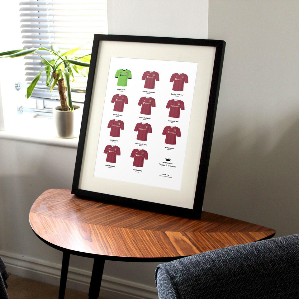 Northampton 2016 League 2 Champions Football Team Print