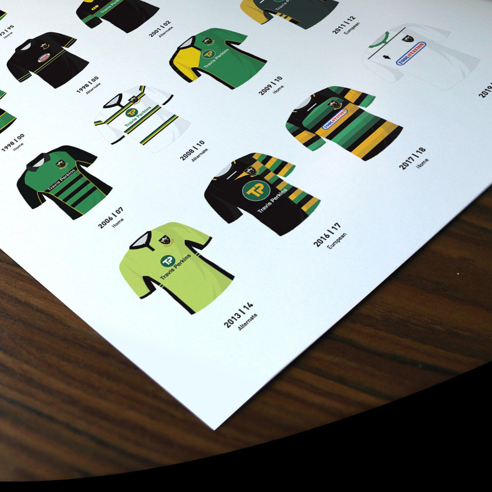 Northampton Classic Kits Rugby Union Team Print - Good Team On Paper