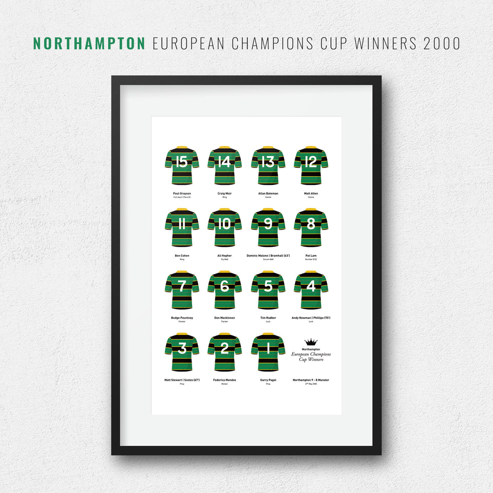 Northampton Rugby Union 2000 European Champions Cup Winners Team Print