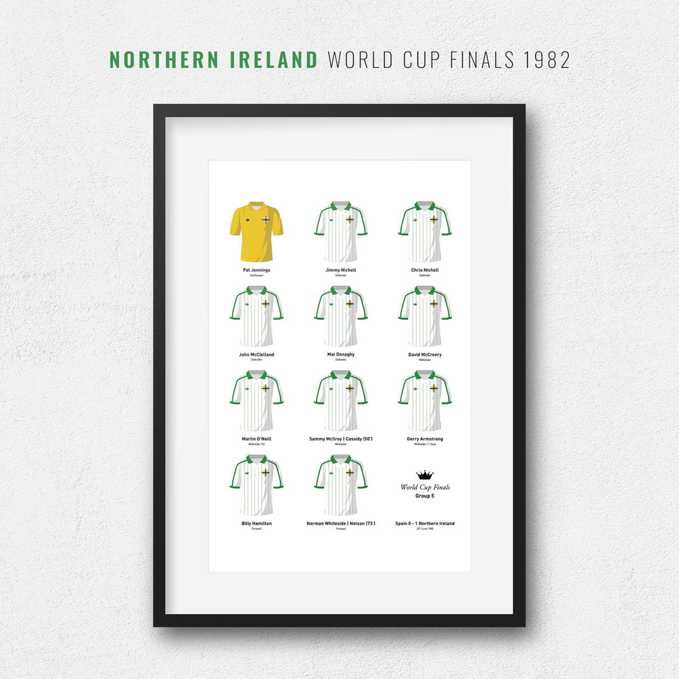 Northern Ireland 1982 World Cup Finals Football Team Print-Good Team On Paper