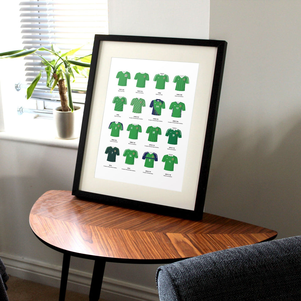 Northern Ireland Classic Kits Football Team Print - Good Team On Paper