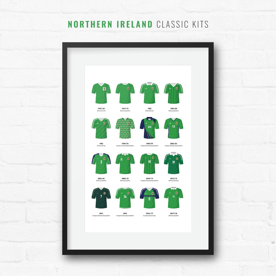 Northern Ireland Classic Kits Football Team Print-Good Team On Paper