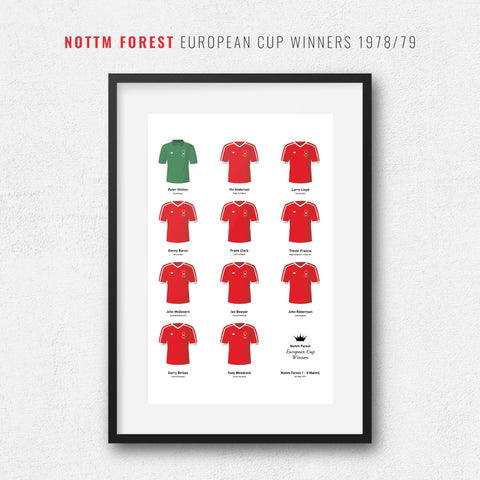 Nottm Forest 1979 European Cup Winners Football Team Print-Good Team On Paper