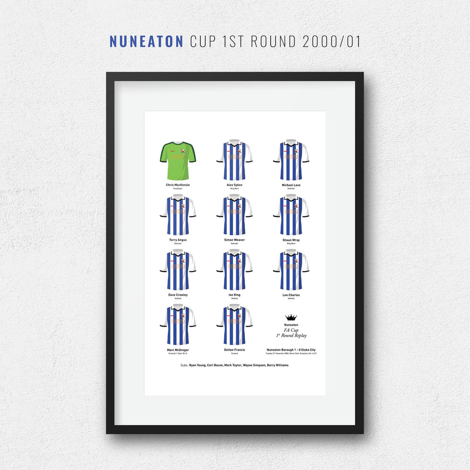 Nuneaton 2000 Cup 1st Round Football Team Print - Good Team On Paper