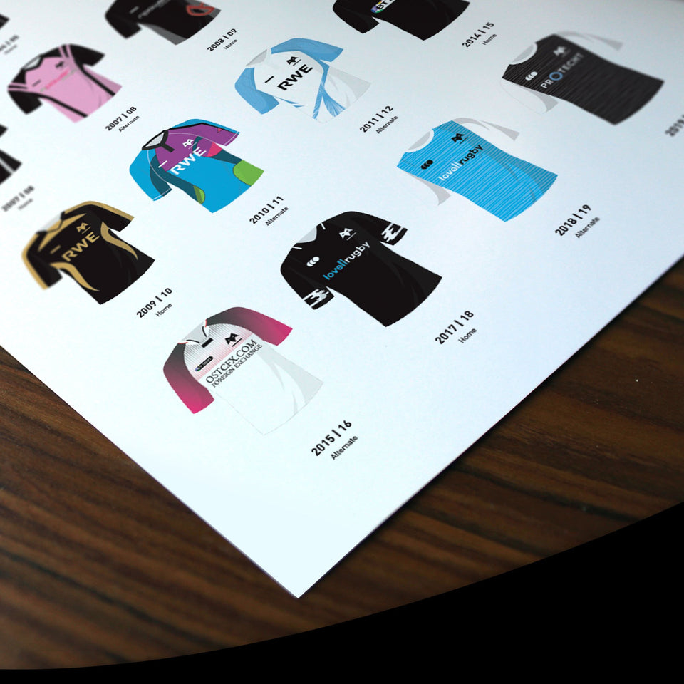 Ospreys Classic Kits Rugby Union Team Print - Good Team On Paper