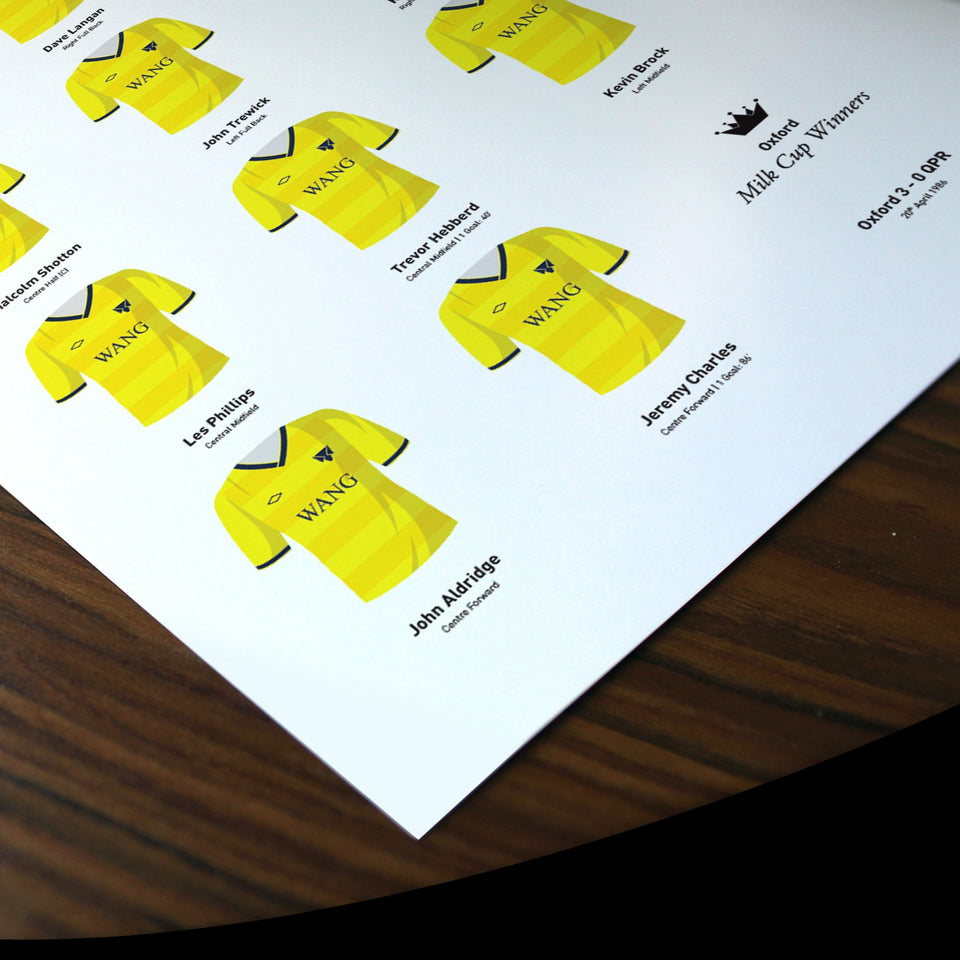 Oxford 1986 Milk Cup Winners Football Team Print