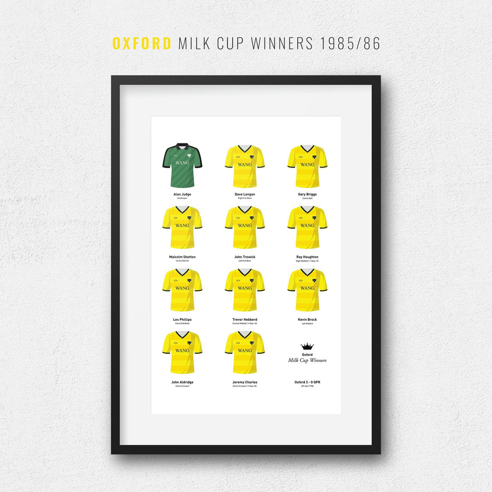 Oxford 1986 Milk Cup Winners Football Team Print - Good Team On Paper