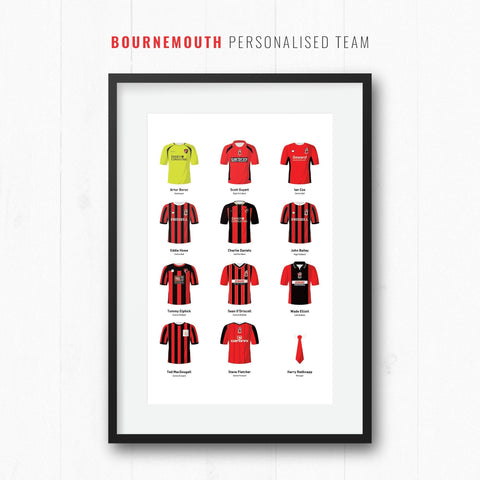 PERSONALISED Bournemouth Football Team Print-Good Team On Paper