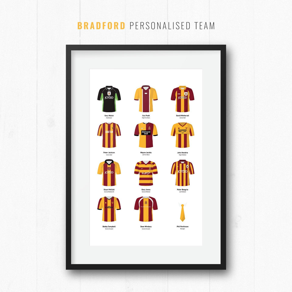 PERSONALISED Bradford Football Team Print
