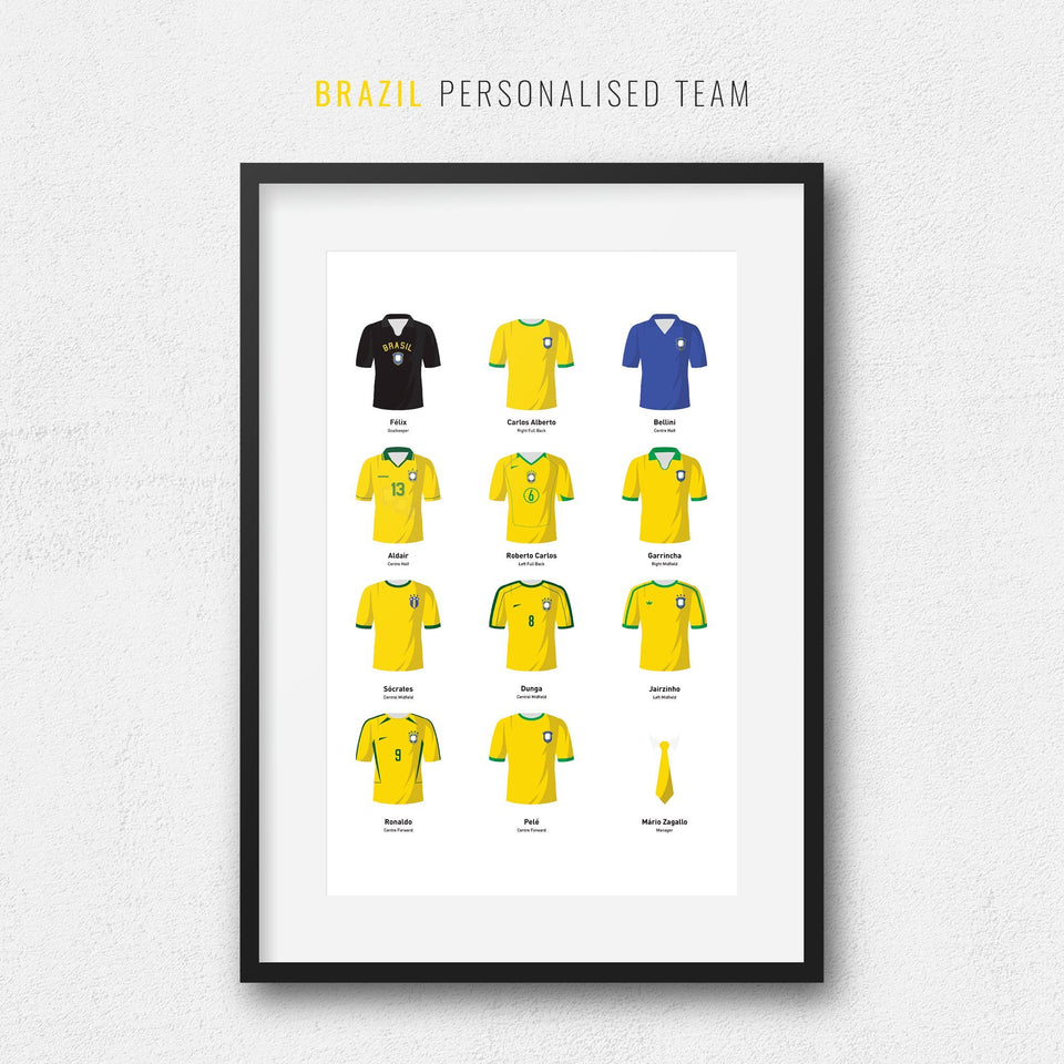 PERSONALISED Brazil Football Team Print - Good Team On Paper