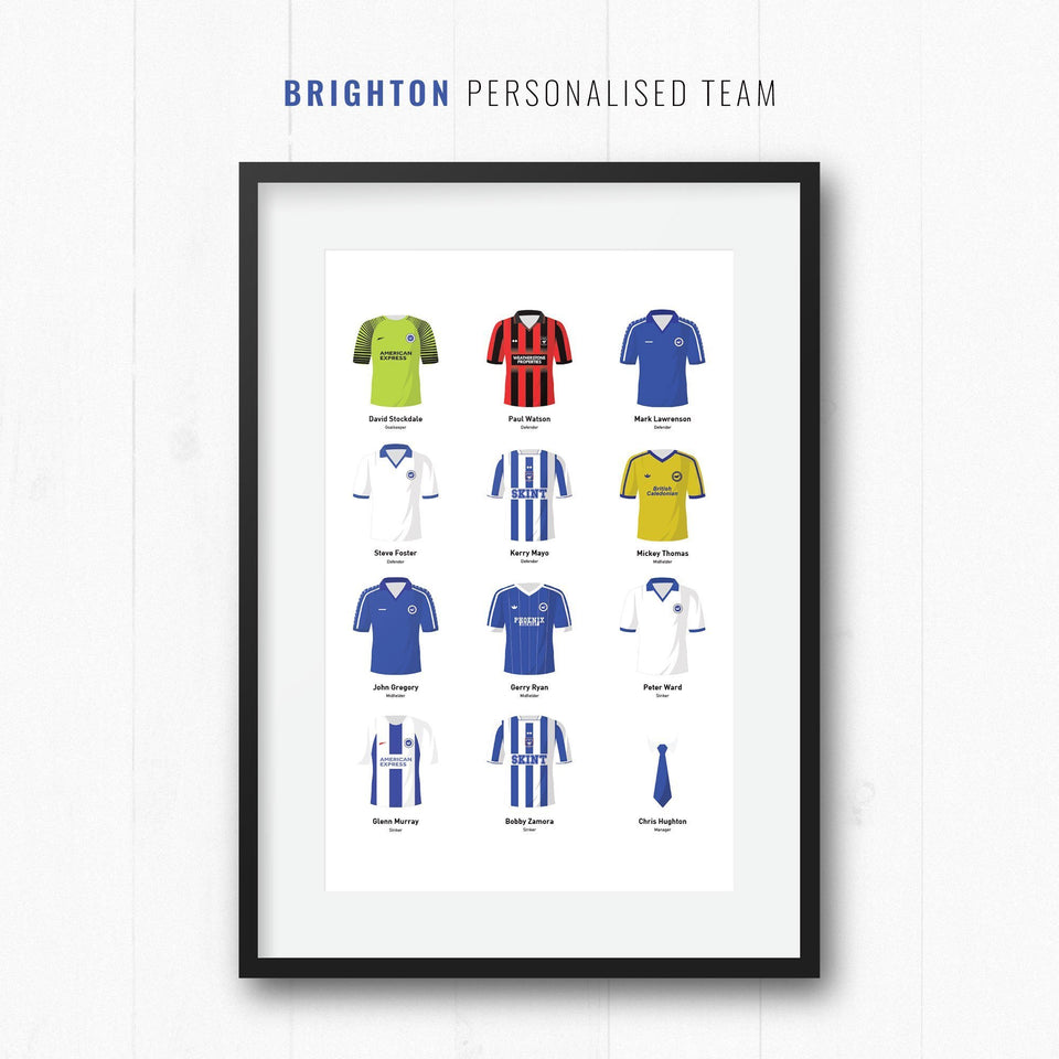 PERSONALISED Brighton Football Team Print - Good Team On Paper