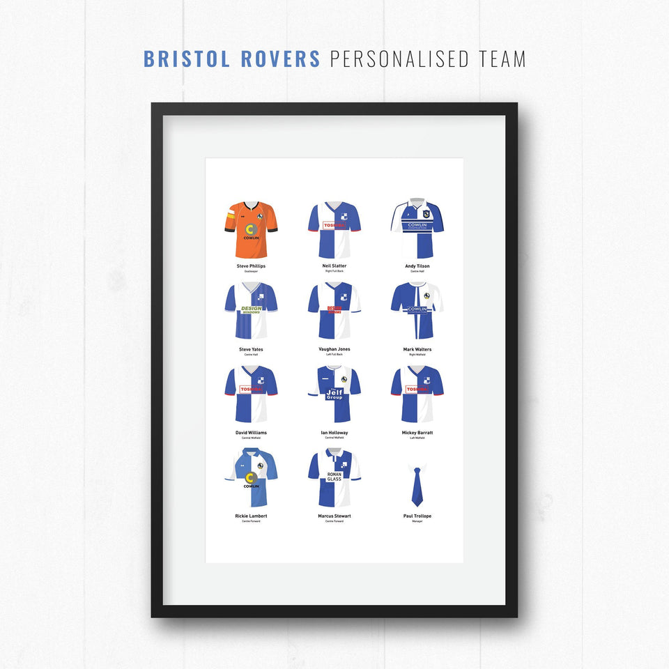 PERSONALISED Bristol Rovers Football Team Print