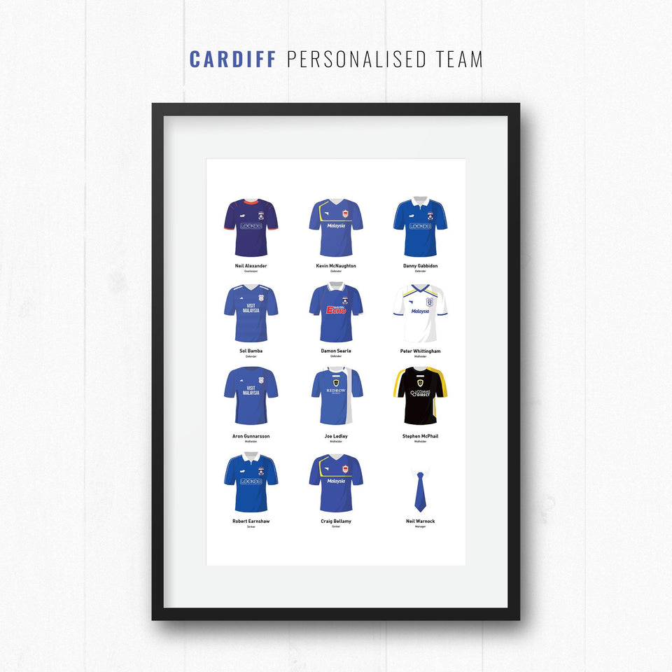PERSONALISED Cardiff Football Team Print-Good Team On Paper