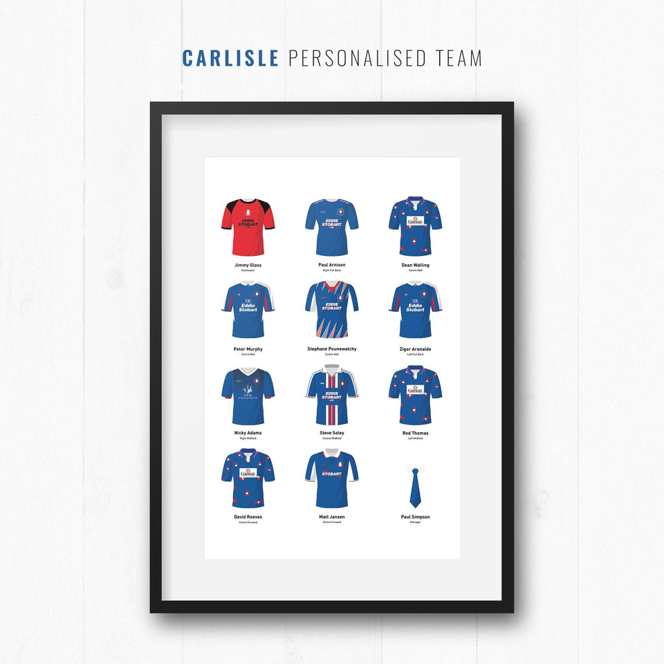 PERSONALISED Carlisle Football Team Print-Good Team On Paper
