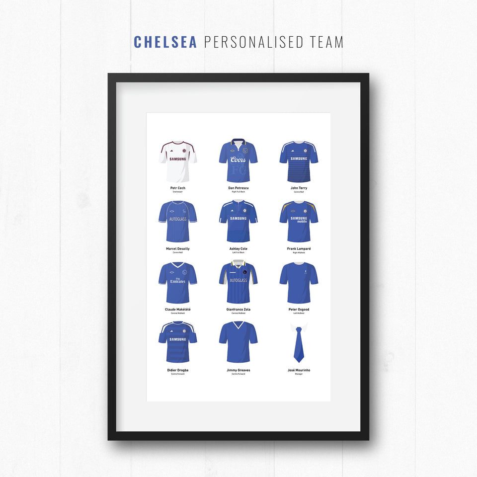 PERSONALISED Chelsea Football Team Print - Good Team On Paper
