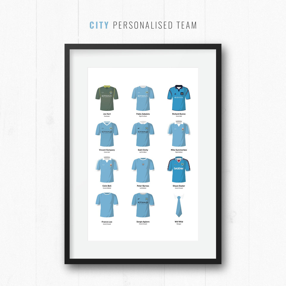 PERSONALISED City Football Team Print - Good Team On Paper