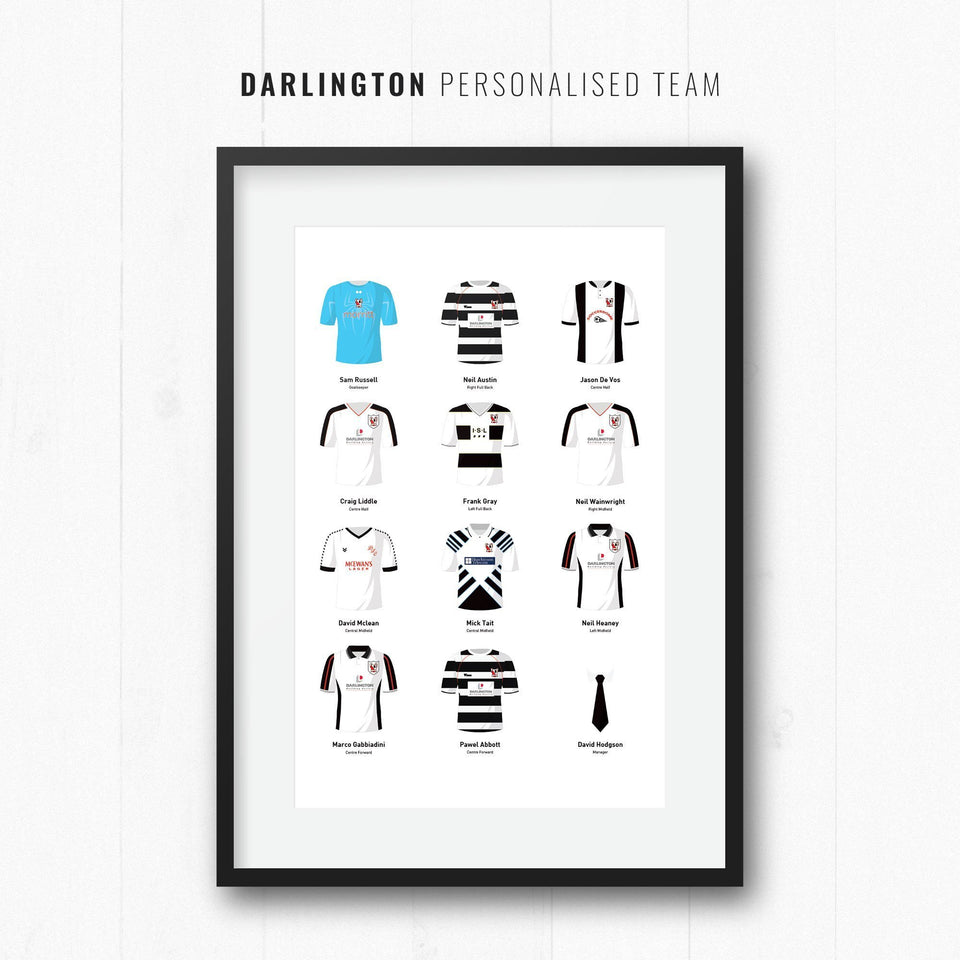 PERSONALISED Darlington Football Team Print-Good Team On Paper