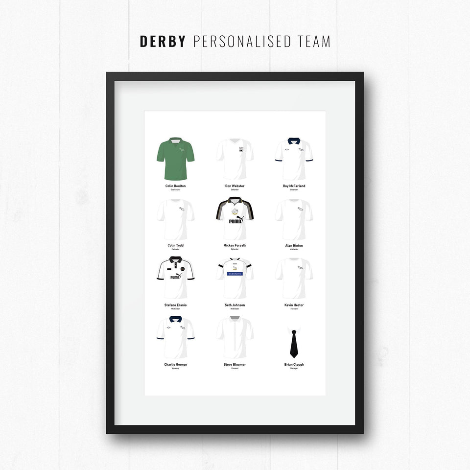 PERSONALISED Derby Football Team Print - Good Team On Paper