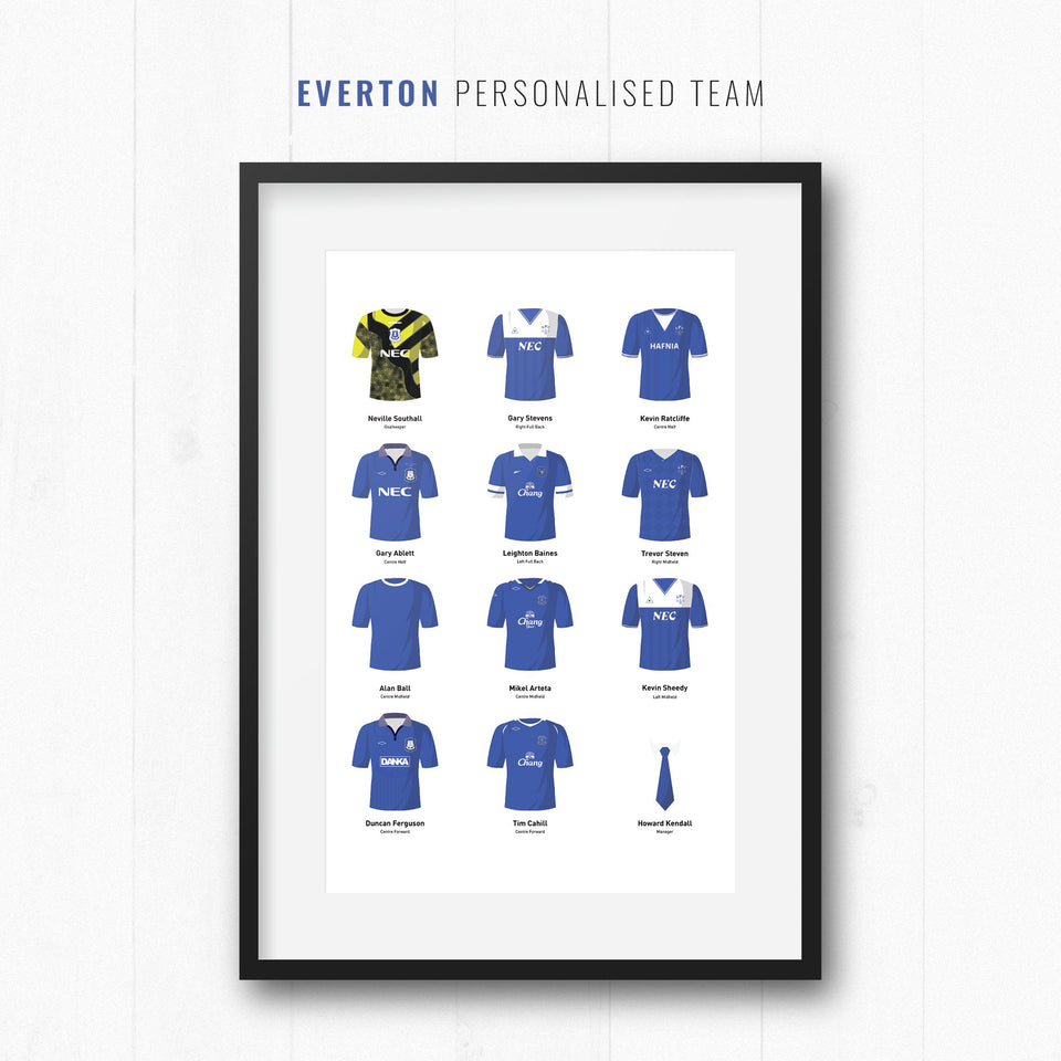 PERSONALISED Everton Football Team Print-Good Team On Paper