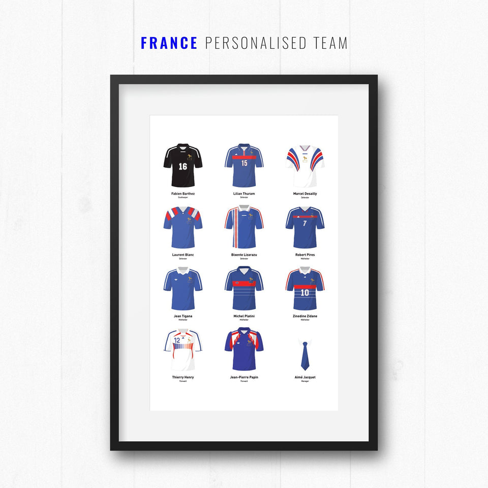 PERSONALISED France Football Team Print - Good Team On Paper