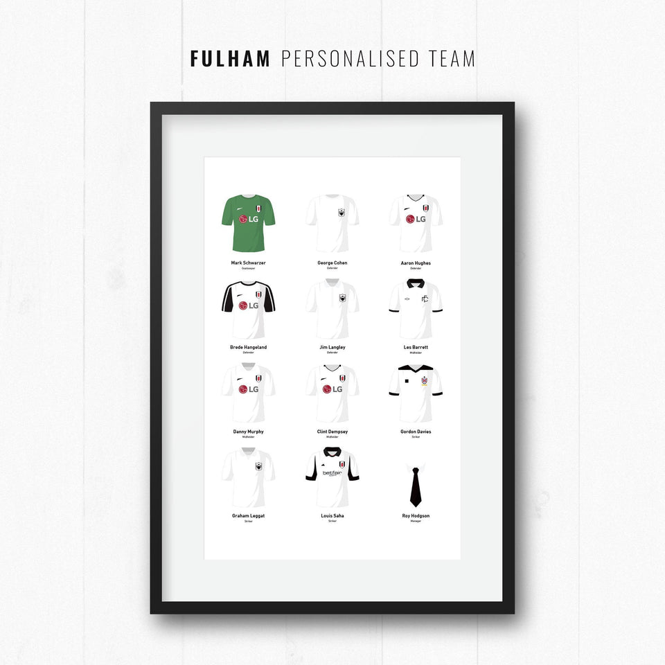 PERSONALISED Fulham Football Team Print-Good Team On Paper