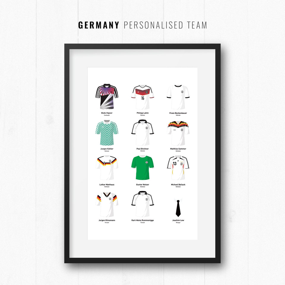 PERSONALISED Germany Football Team Print - Good Team On Paper