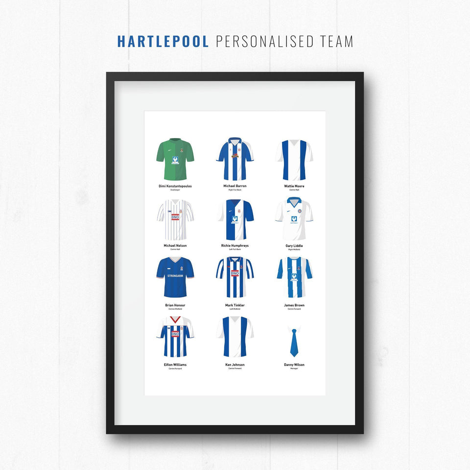 PERSONALISED Hartlepool Football Team Print - Good Team On Paper