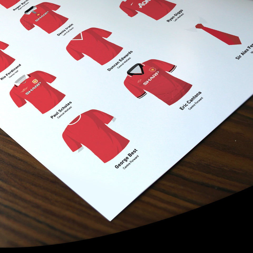 PERSONALISED Manchester Utd Football Team Print - Good Team On Paper