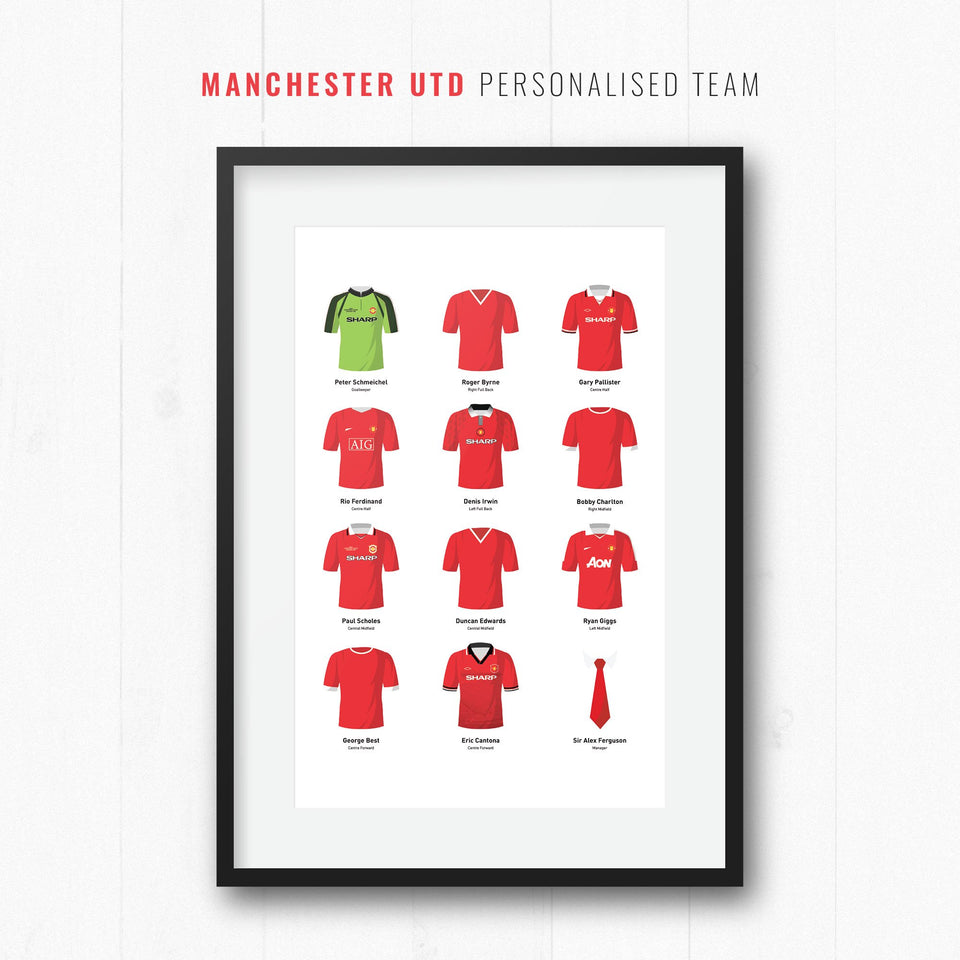 PERSONALISED Manchester Utd Football Team Print