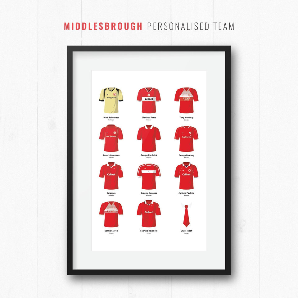 PERSONALISED Middlesbrough Football Team Print