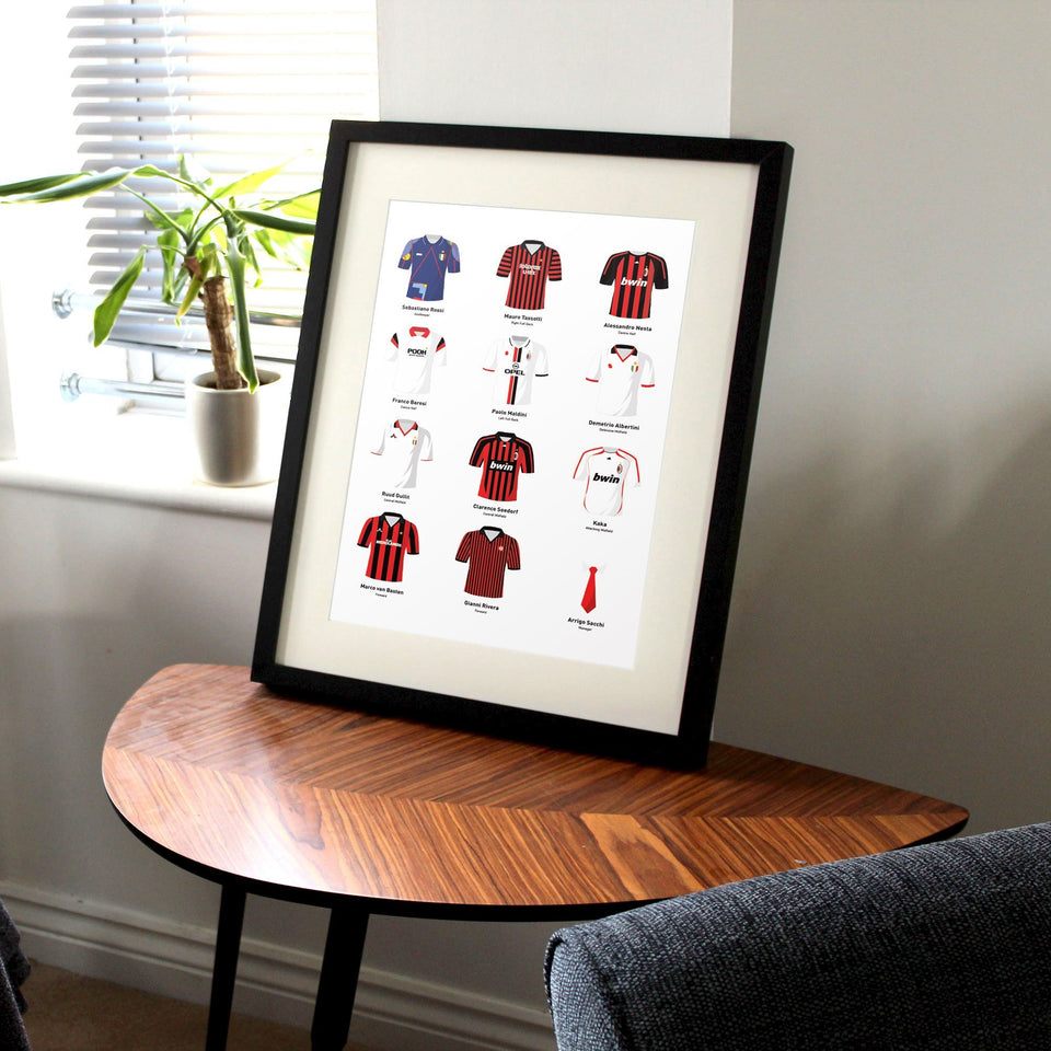 PERSONALISED Milan Football Team Print - Good Team On Paper