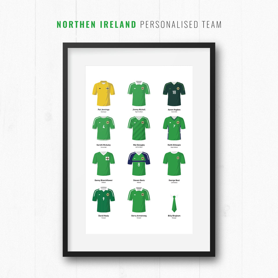 PERSONALISED Northern Ireland Football Team Print - Good Team On Paper