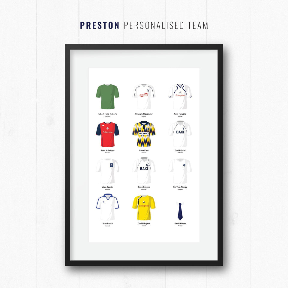 PERSONALISED Preston Football Team Print - Good Team On Paper