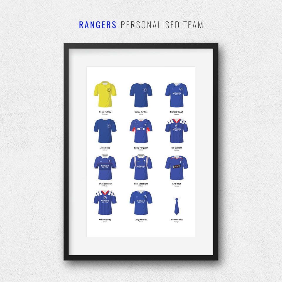 PERSONALISED Rangers Football Team Print - Good Team On Paper