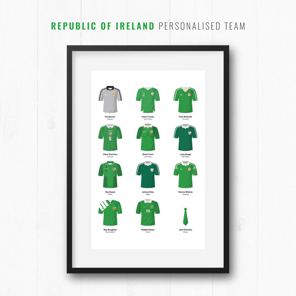 PERSONALISED Republic of Ireland Football Team Print - Good Team On Paper