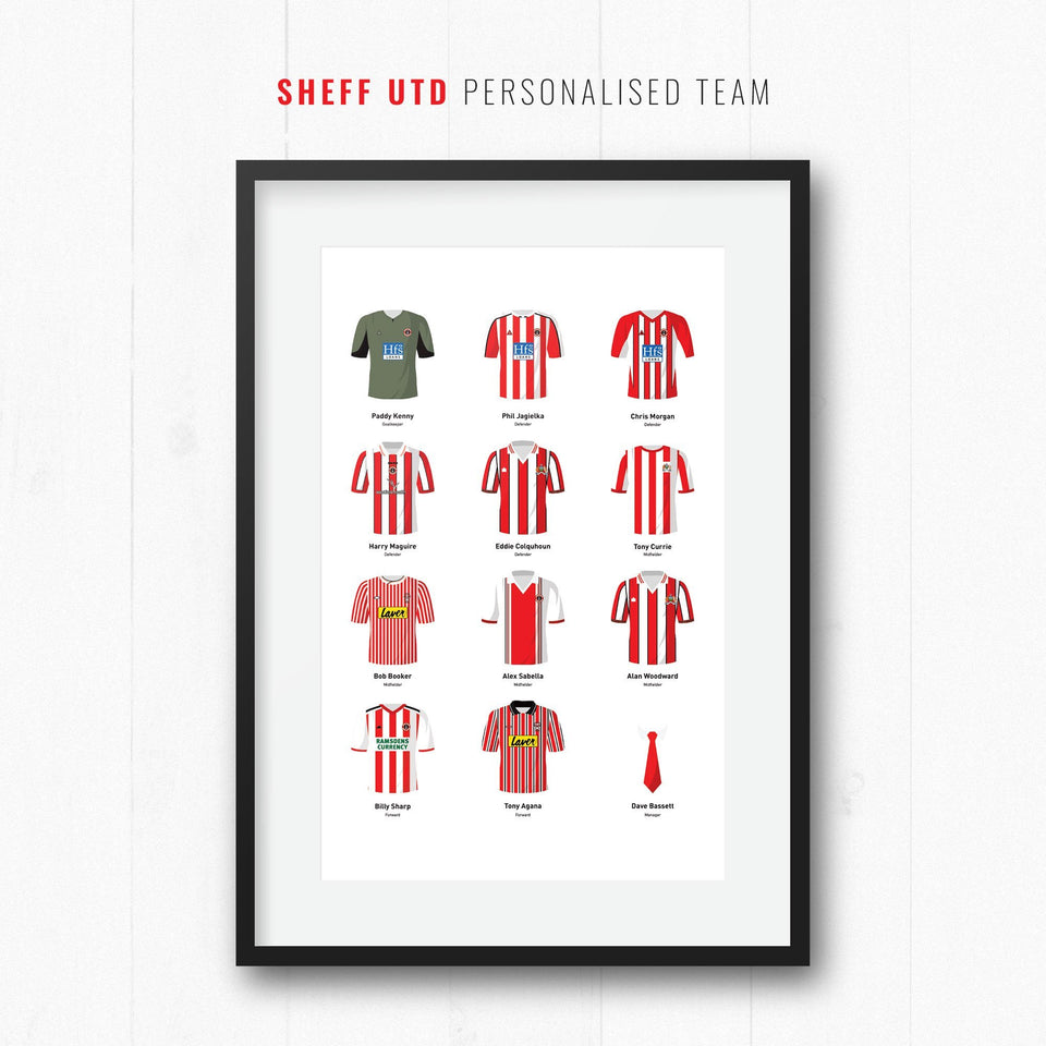 PERSONALISED Sheff Utd Football Team Print