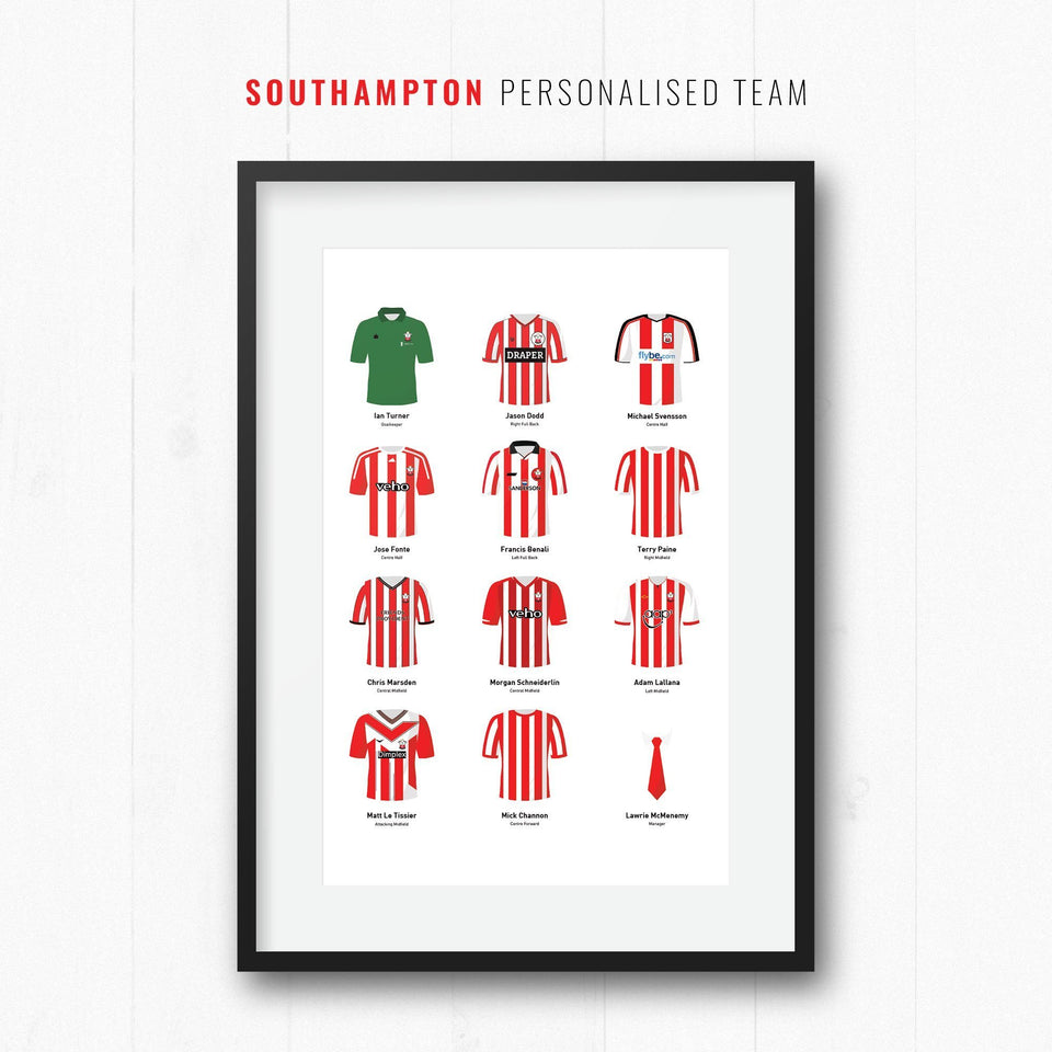 PERSONALISED Southampton Football Team Print-Good Team On Paper